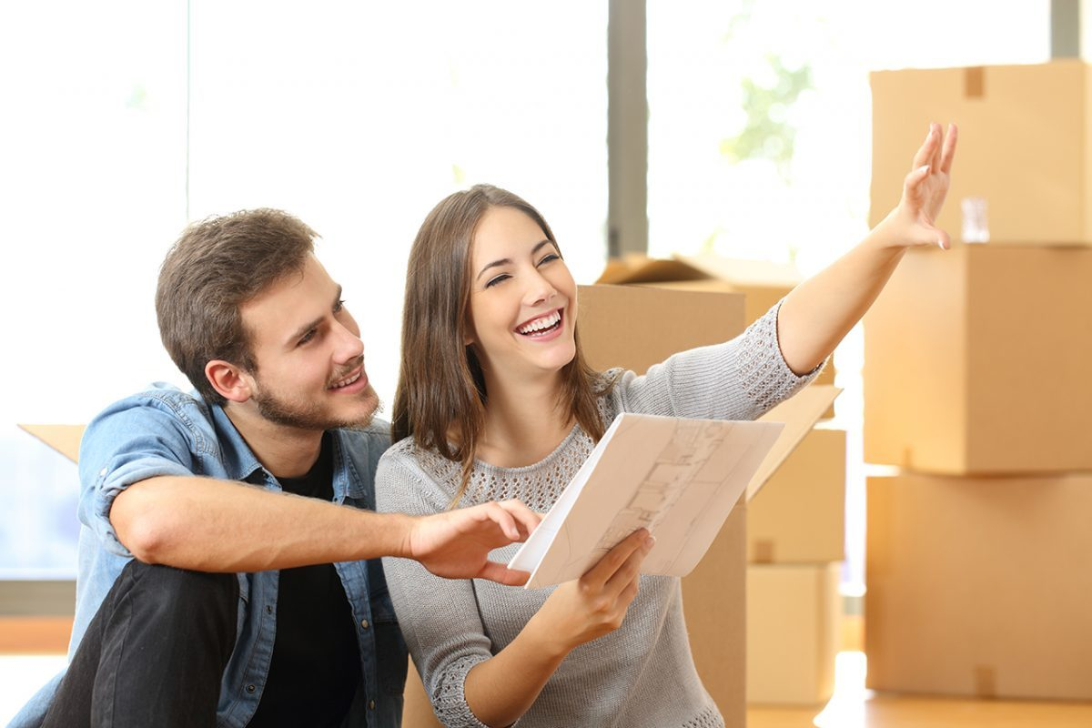 Couple planning happy about moving to new home