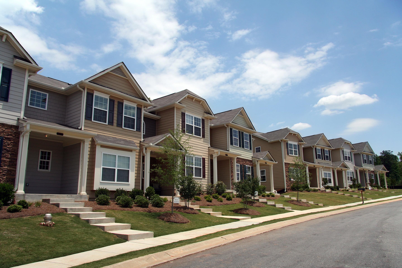 A row of new condominiums.