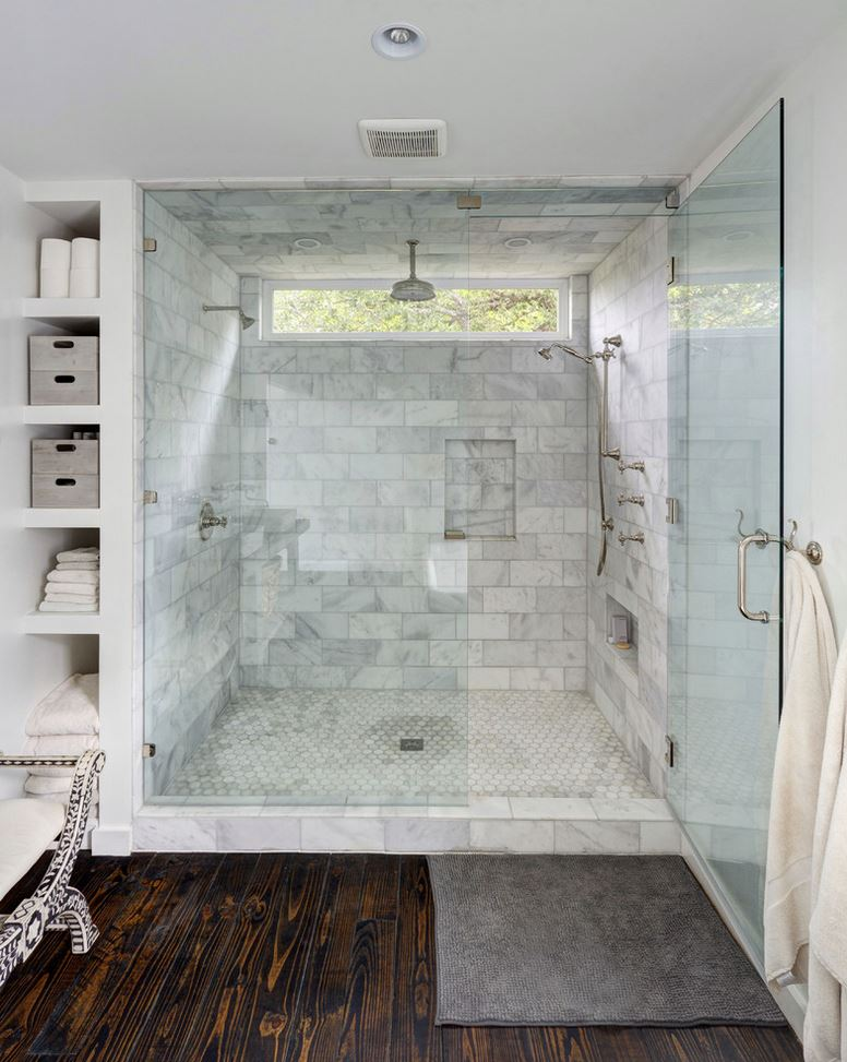 Bathroom upgraded with a huge tile shower