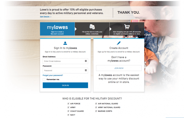 Lowe's Military Discount Login Page