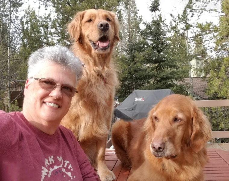 Monica Mack, and her dogs, Lexi, and Micah