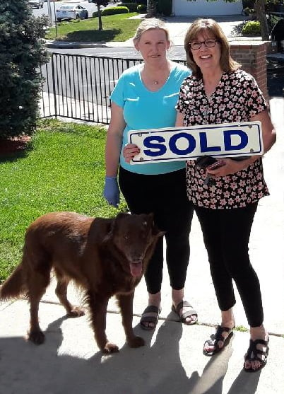 """Ingrid Sanchez poses with Libby Guthrie outside the """"Just Sold"""" Home"""